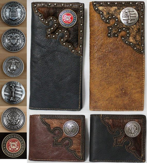 ec5124e9b5454 Long Military Leather Wallet US Air Force Army Coast Guard Navy ...