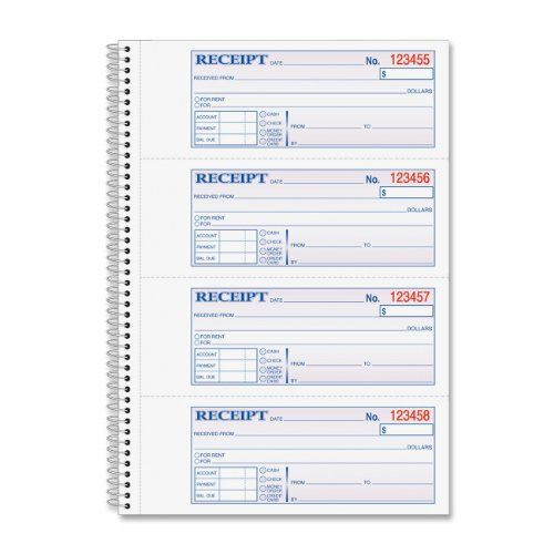 Adams Money and Rent Receipt Book, 2-Part Carbonless, 275 x 713 - house rent slips