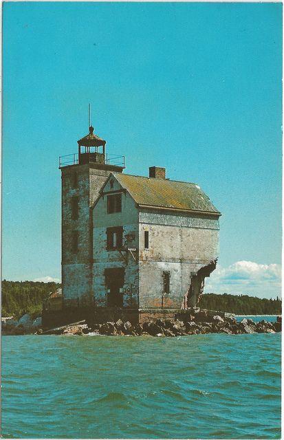 Round Island Lighthouse and Harbor built 1896 off of Mackinaw Island