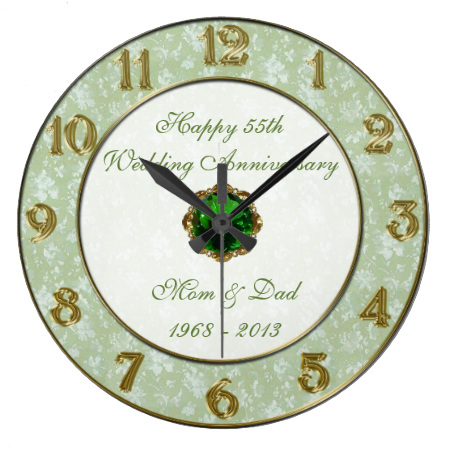 Damask 55th Wedding Anniversary Clock 55th Anniversary Gift
