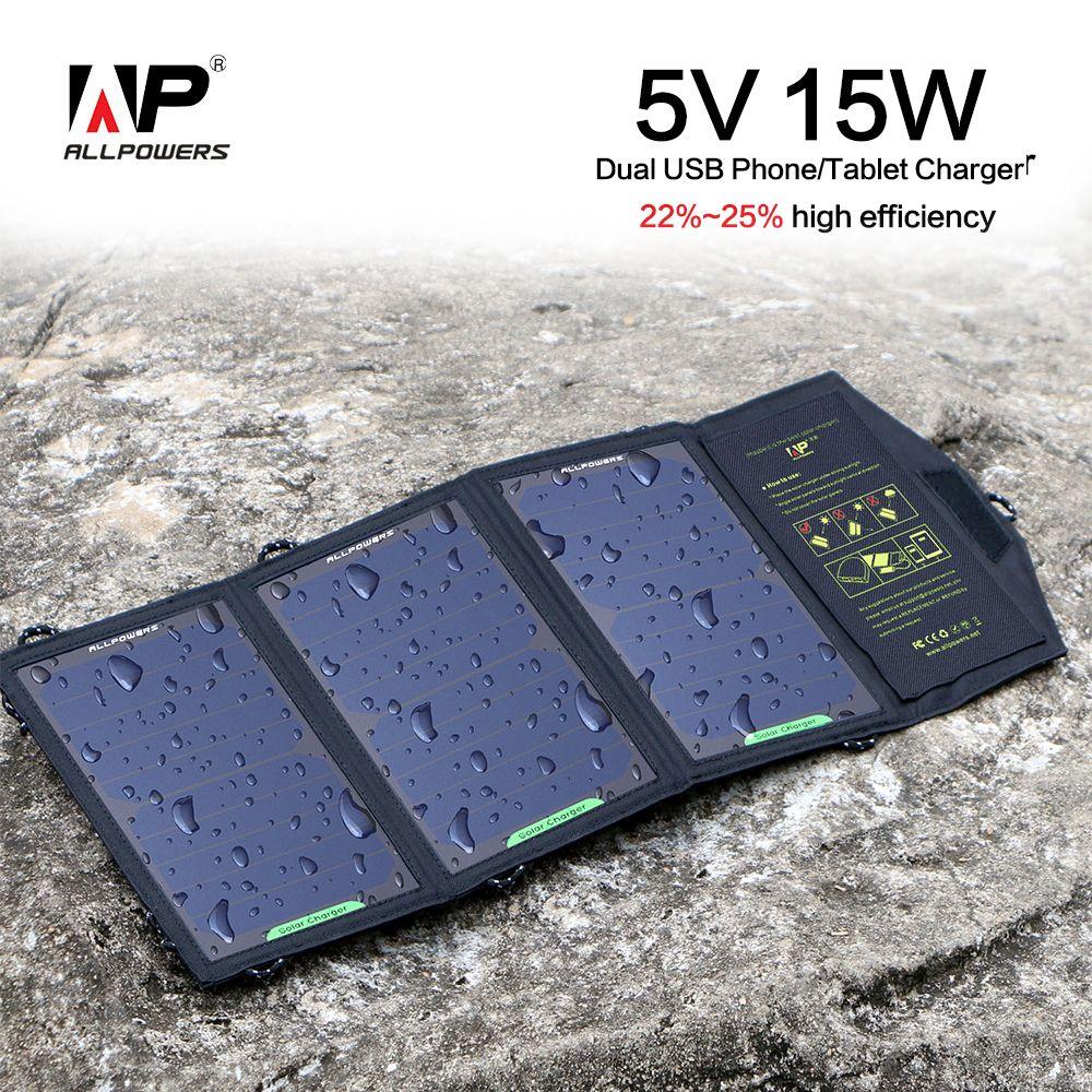 Allpowers 5v 15w Portable Foldable Solar Panel Charger Phone Blackberry Tablet Battery For