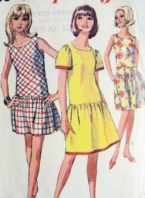 1960's Dropped Waist Dress, Simplicity 6559, Size 12 Teen