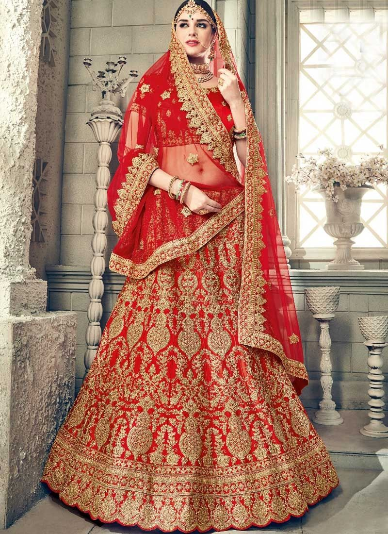 Red Colour Art Silk Lehenga Choli Bridal lehenga choli