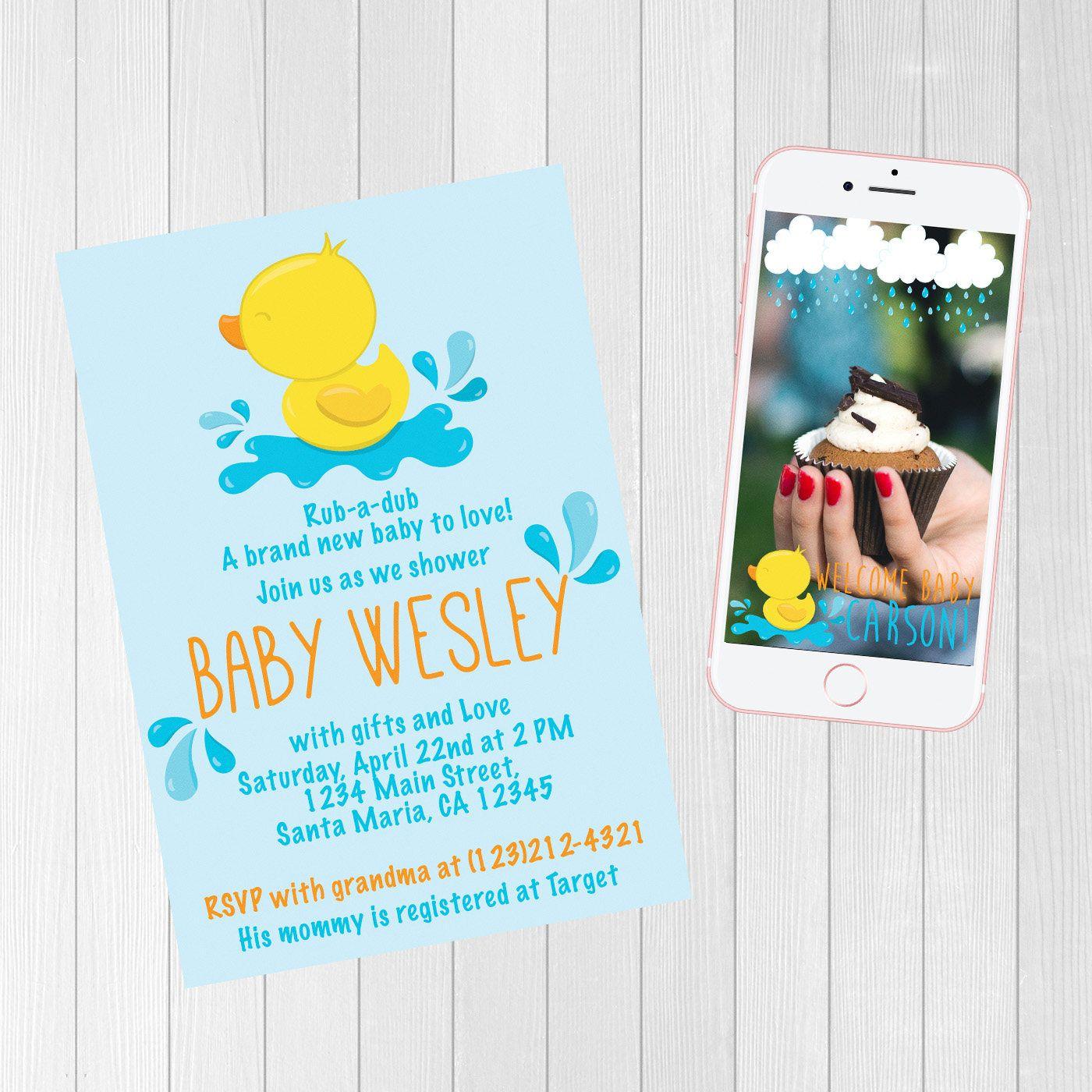 rubber ducky invitation bundle | snapchat bundle | baby shower ...