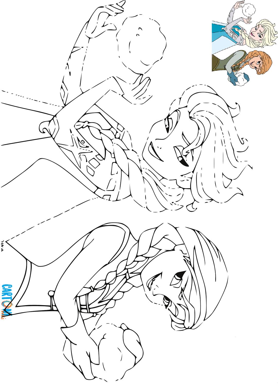 Cartoni Animati Disegno Da Colorare Di Anna Ed Elsa Mentre