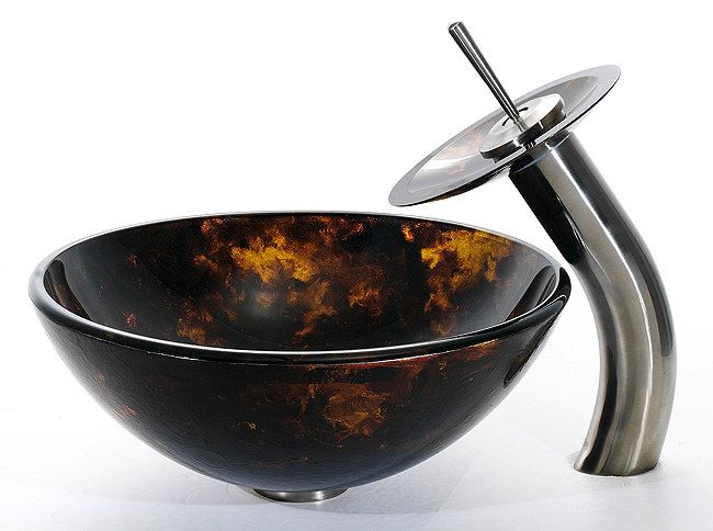 Autumn 14 Inch Glass Sink And Waterfall Faucet Combination C GV 410 14