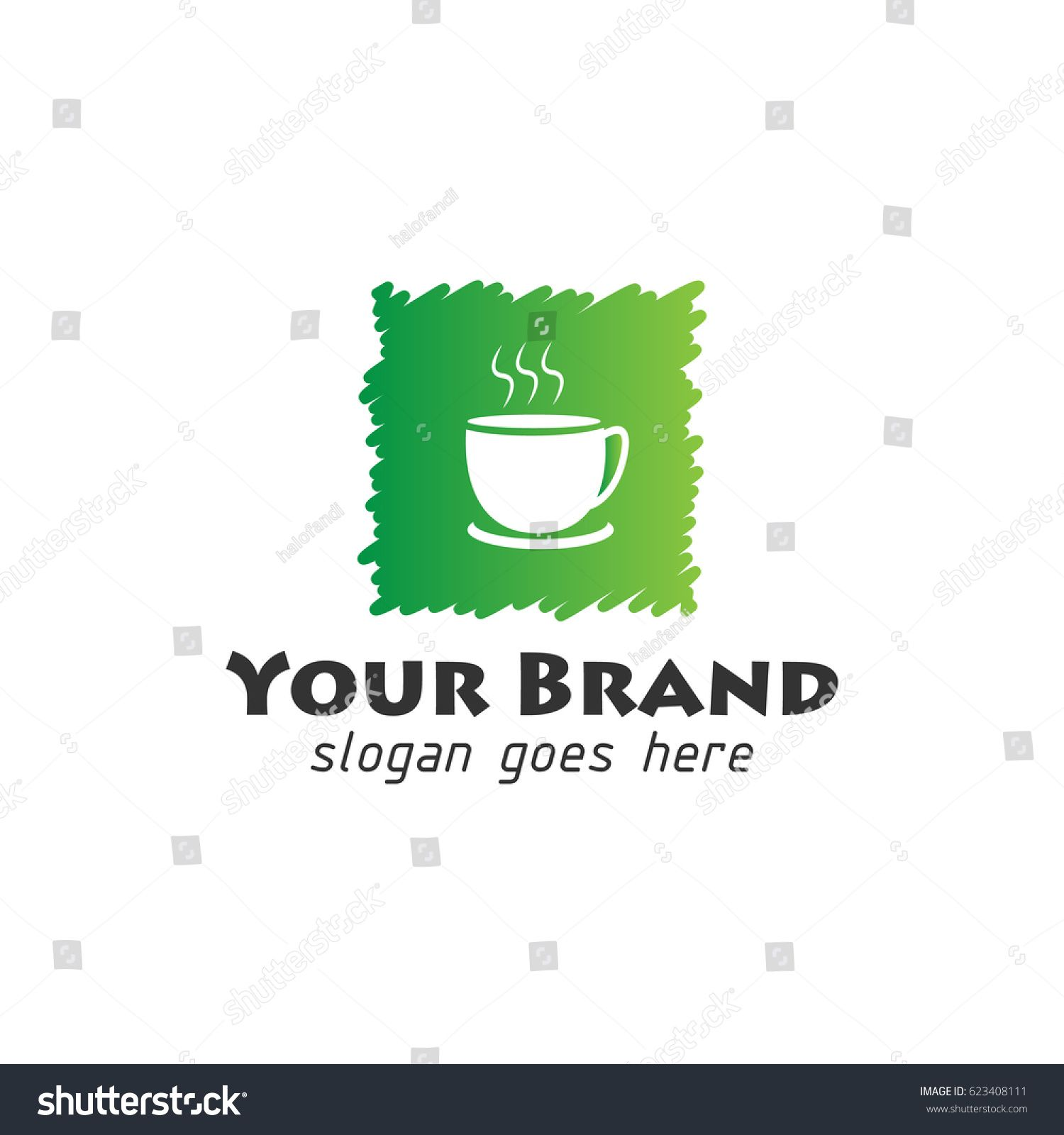 Coffee Shop Logo With Square Shape In Green Colored Conceptual Vector Circuit Tree Stock Photo Image 34279490