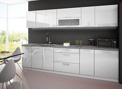CUISINE COMPLETE 3M LAQUEE BLANC AVEC PLAN DE TRAVAIL Kitchen - Table De Cuisine Avec Plan De Travail