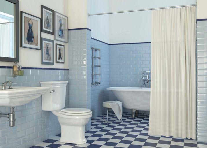 Bagno azzurro vintage quadri e diamantato bagno piccolo bagno
