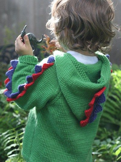 c7844a77d Free knitting pattern for Steggie Sweater stegosaurus dinosaur inspired  hoodie. Chest  26 27.5