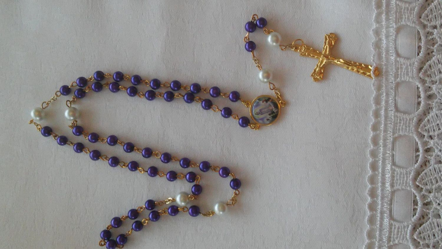 SOLD ******Rosary with Purple and white pearls and Gold Accents . by BarbsBeadedBoutique on Etsy