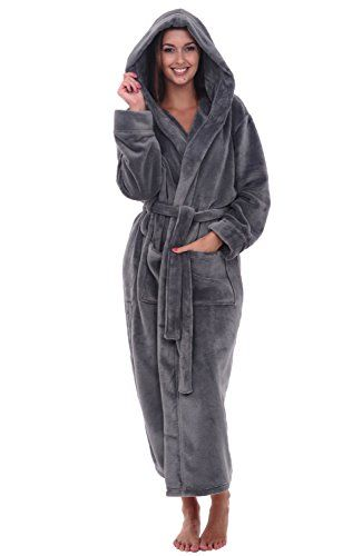 Del Rossa Womens Fleece Robe Long Hooded Bathrobe Large XL Steel Gray  A0116STLXL       AMAZON BEST BUY    bfc498143608