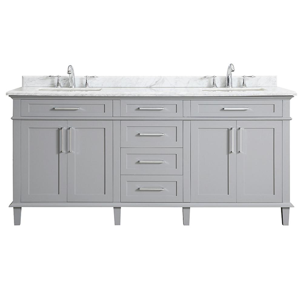 Home Decorators Collection Sonoma 72 In W X 22 In D Bath Vanity In Pebble Gray With Carrara Marble Top With White Sinks Sonoma 72pg The Home Depot White Sink Marble 72 in bathroom vanity
