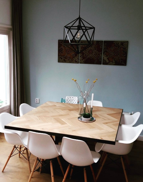 Vierkante Eettafel Kopen.Visgraat Tafel Vierkant In 2019 Vierkante Eettafels