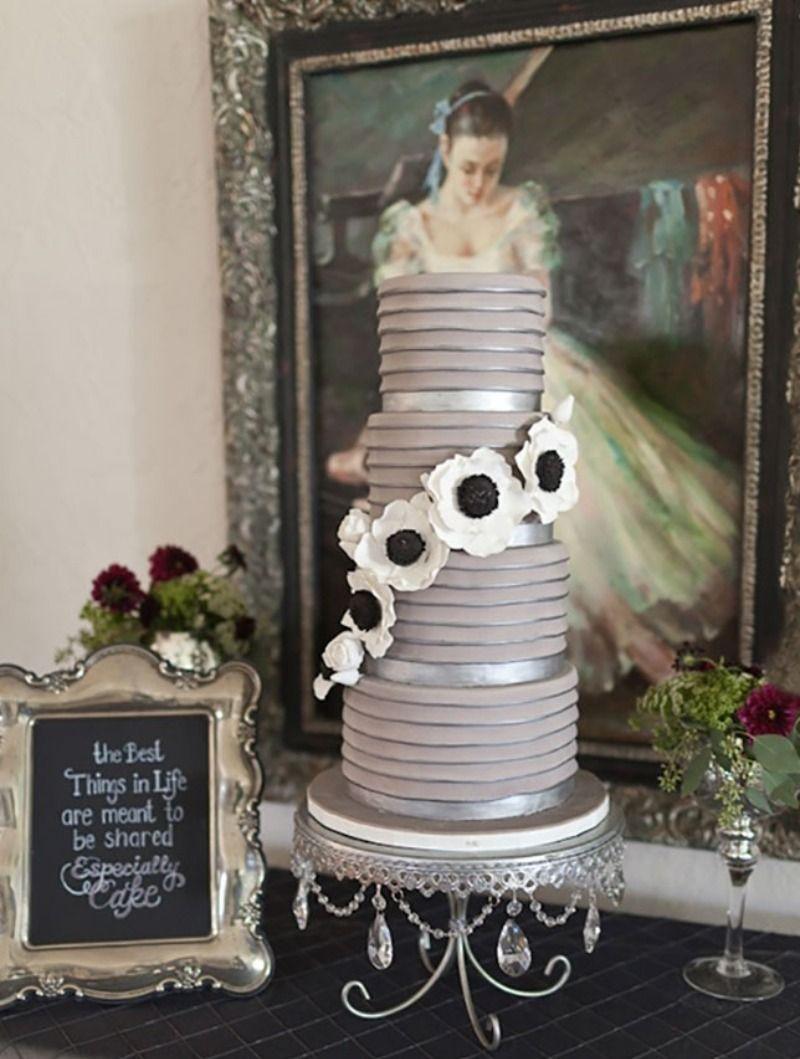 Grey u silver wedding inspiration modern tiered wedding cake