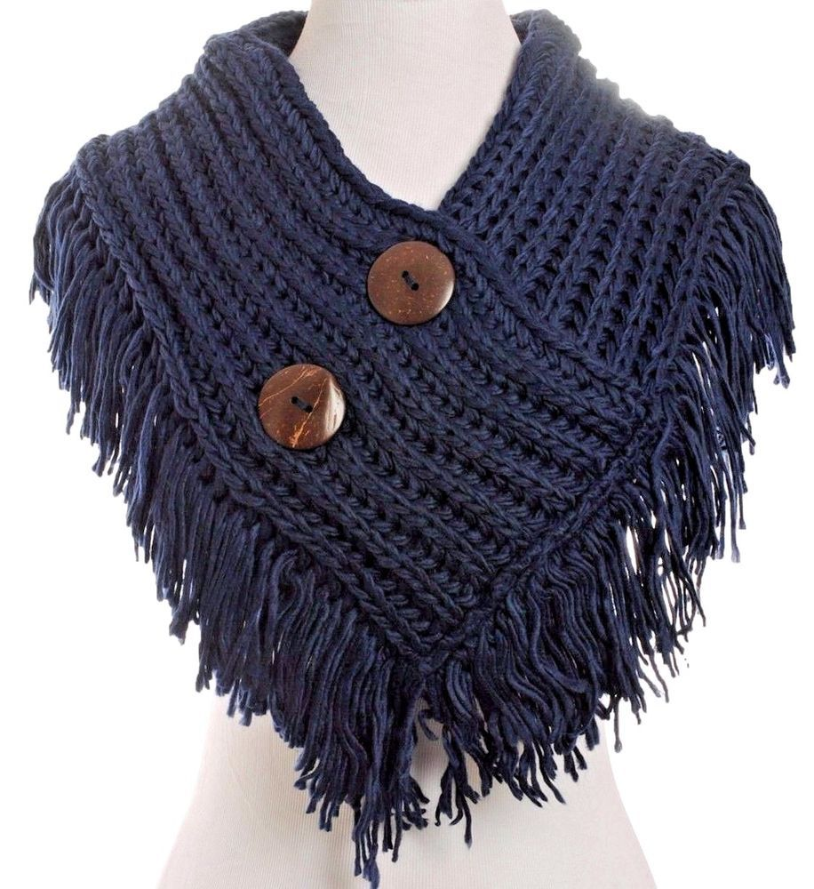 shorty poncho~cable knit button collar scarf~fringe cowl infinity