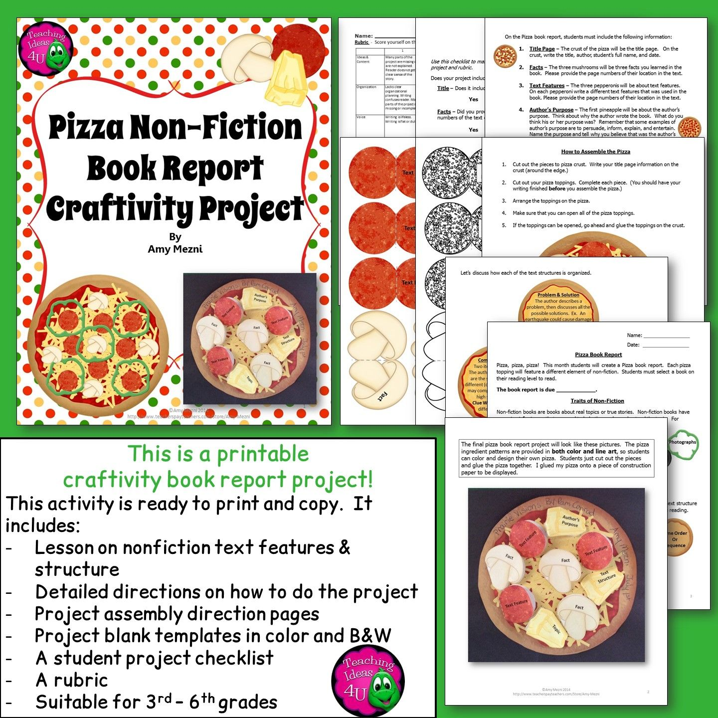 Nonfiction Pizza Book Report Craftivity Project Text Features & Text ...
