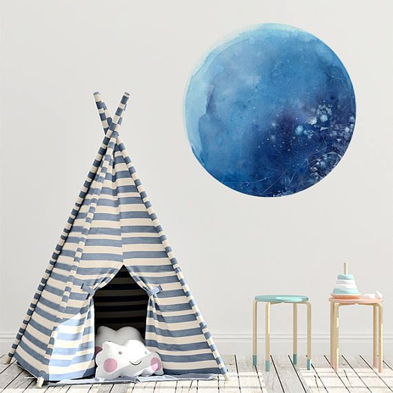 Blue Moon Wall Decal Moon Wall Art Decor Wall Sticker Nursery