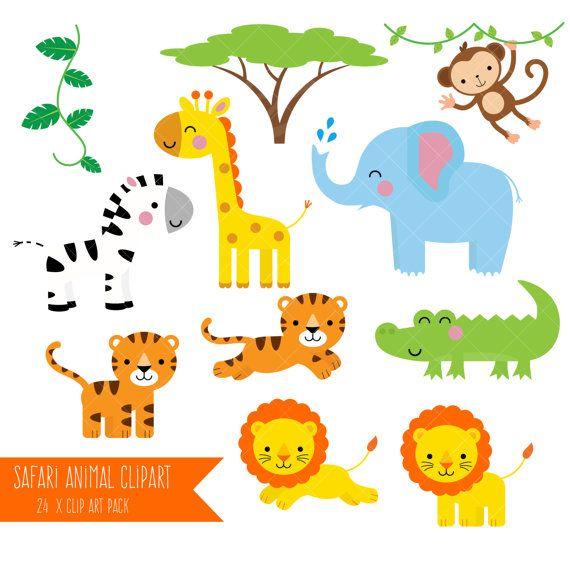 Safari Animals Clipart / Printable Jungle Animal Clip Art / Monkey ...