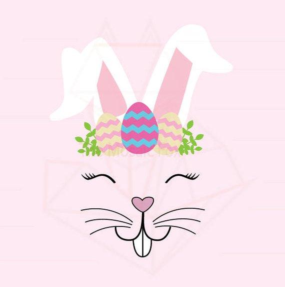 Bunny Face Egg 1 SVG, JPG, Digital Download