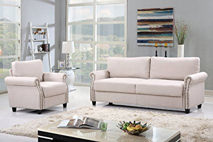2 Piece Classic Linen Fabric Living Room Sofa And Armchair Furniture Set With Nailhead Trim Beige Living Room Sets Cheap Living Room Sets Furniture Loveseat
