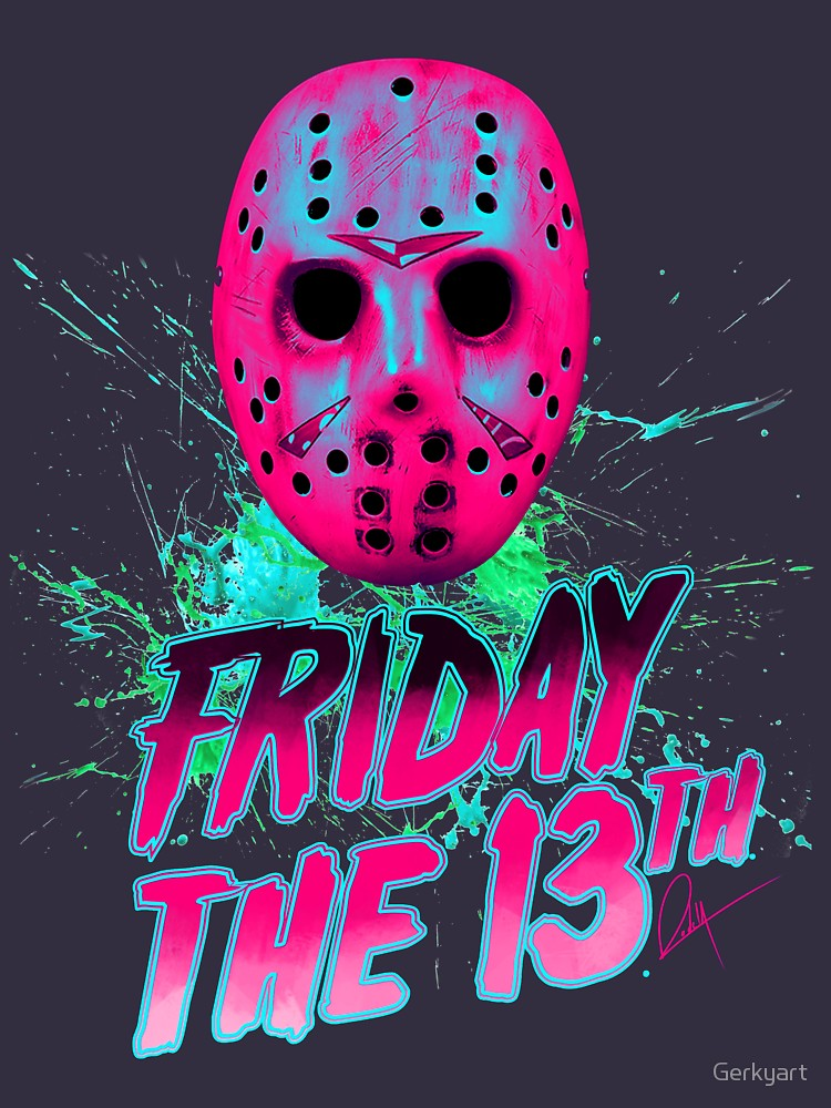 Friday The 13th Neon V T Shirt By Gerkyart Redbubble Friday The 13th Poster Friday The 13th Horror Artwork