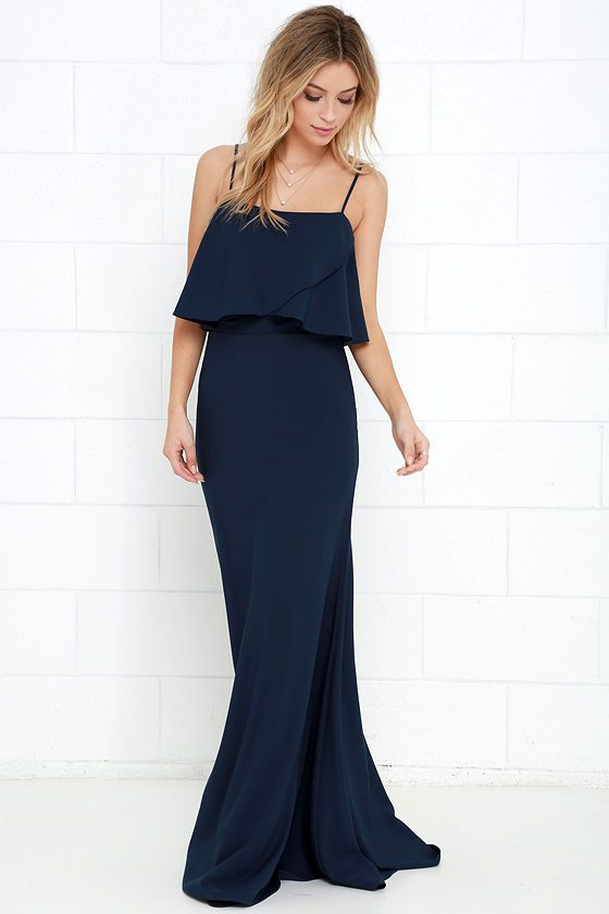 From a Fantasy Navy Blue Maxi Dress at Lulus.com!
