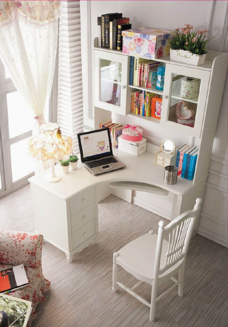 Little corner desk with a lot of space for storage home office decor