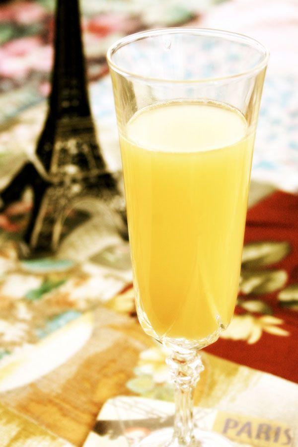Mimosa   (1 champagne glass)   1 part sparkling wine, preferably a dry Prosecco  1 part orange juice   Pour sparkling wine in the glass before the orange juice.