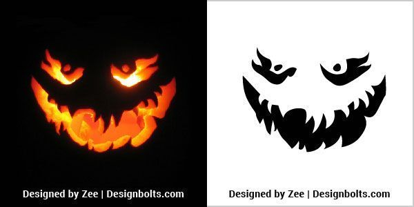 10 More Free Scary Halloween Pumpkin Carving Stencils, Patterns, Faces & Ideas 2…