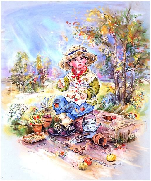 Paintbox Poppets : The Hungry Gardener © Copyright Christine Haworth Designs
