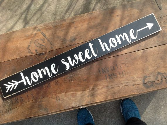 Wood Sign Home Sweet Home Arrow Distressed Sign Wall Decor Hand Painted Home Decor
