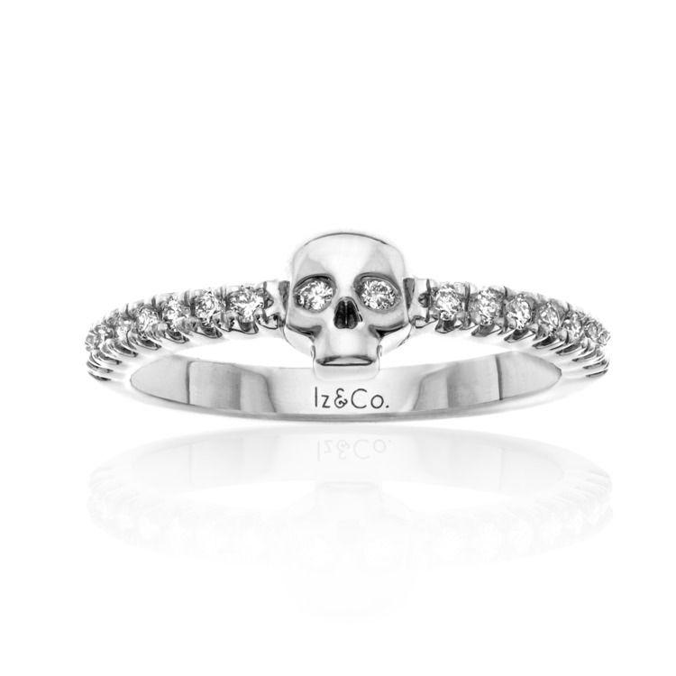 Day of tha Dead White cubic Zirconia woman small skull 925 sterling silver ring Small skull anniversary ring# secret skull Engagement & wedding ring# white Diamond Day of the Dead skull ring