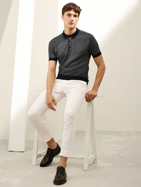 Men's Charcoal Polo, White Chinos, Black Leather Derby Shoes