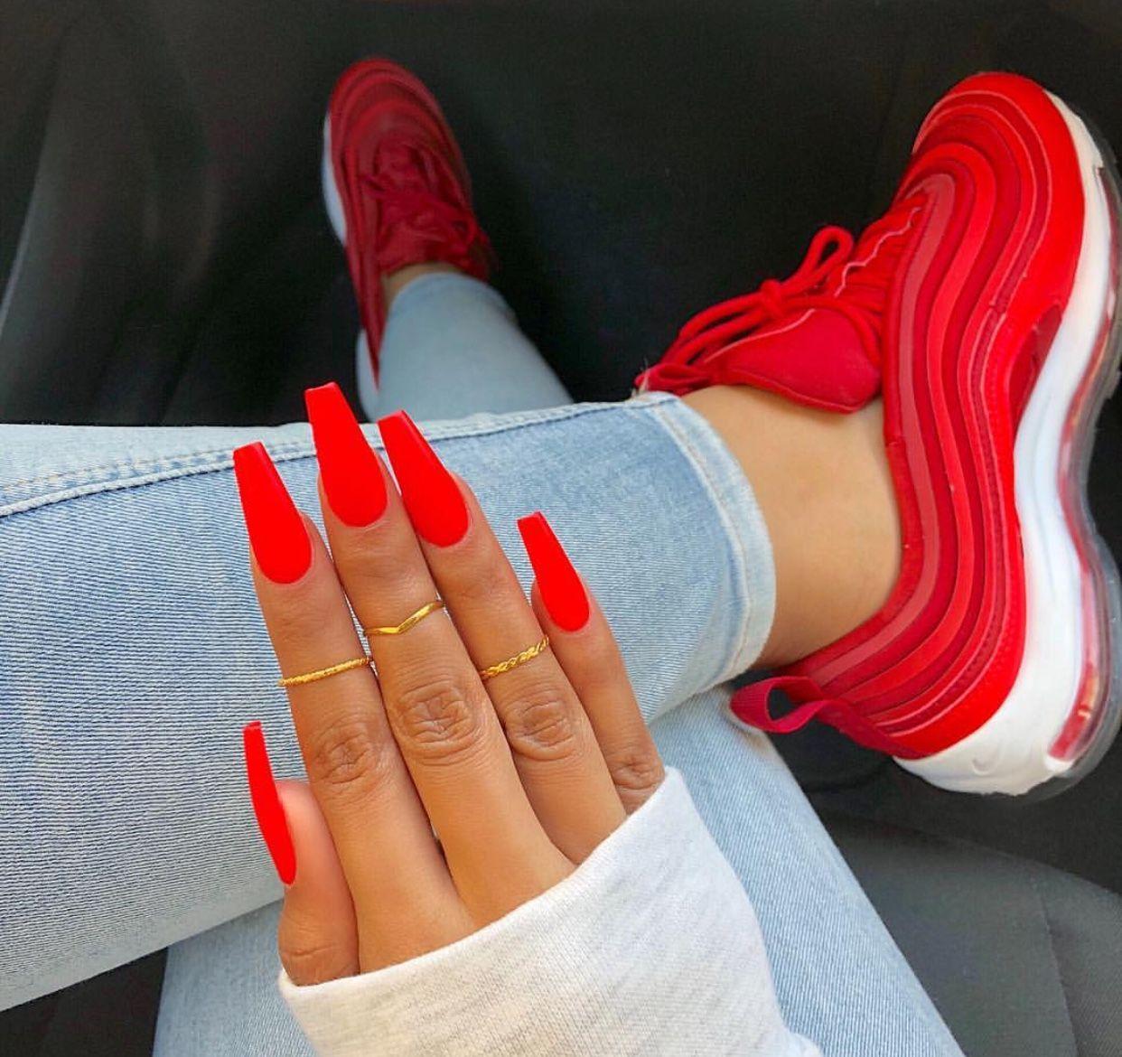 Sapato E Unha Cute Red Nails Chic Nails Chic Nail Designs