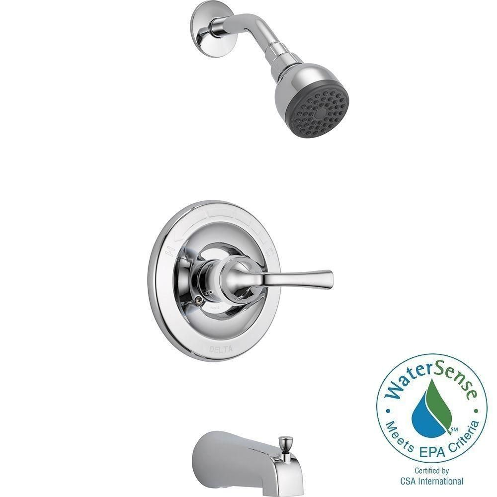 Delta Foundations Single-Handle 1-Spray Tub and Shower Faucet in ...