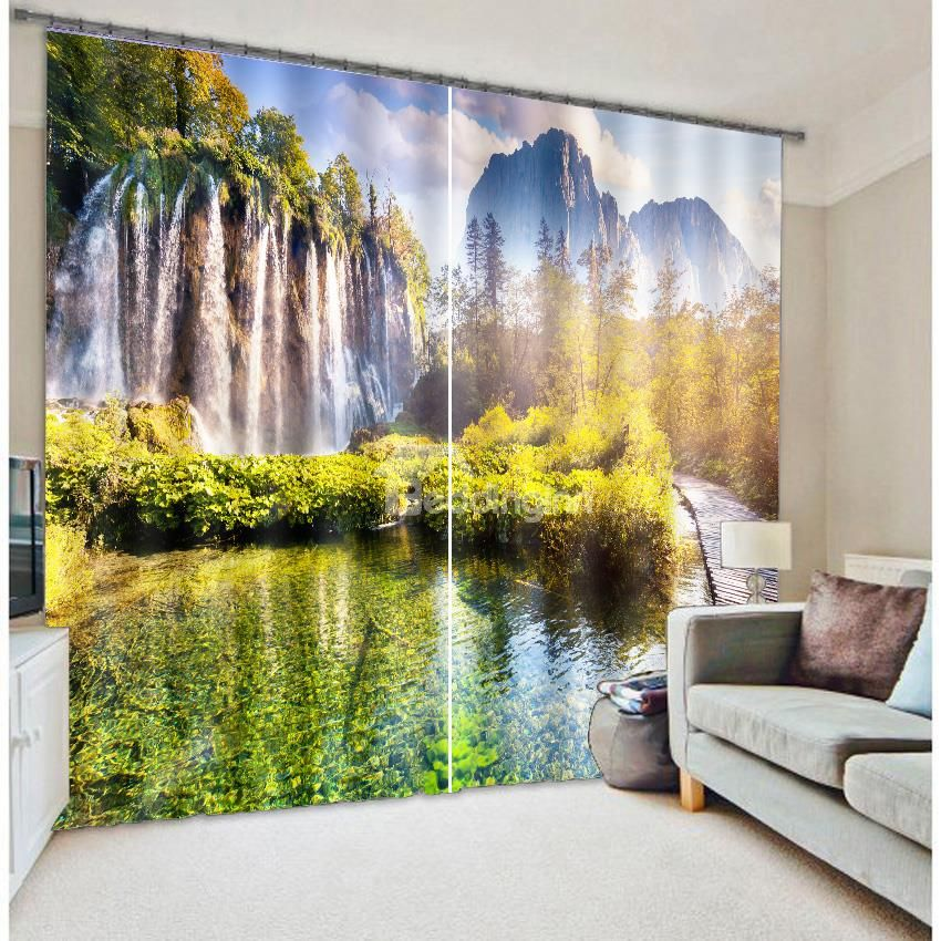 splendid mountains and river with trees nature scenery printing custom 3d curtain curtains on