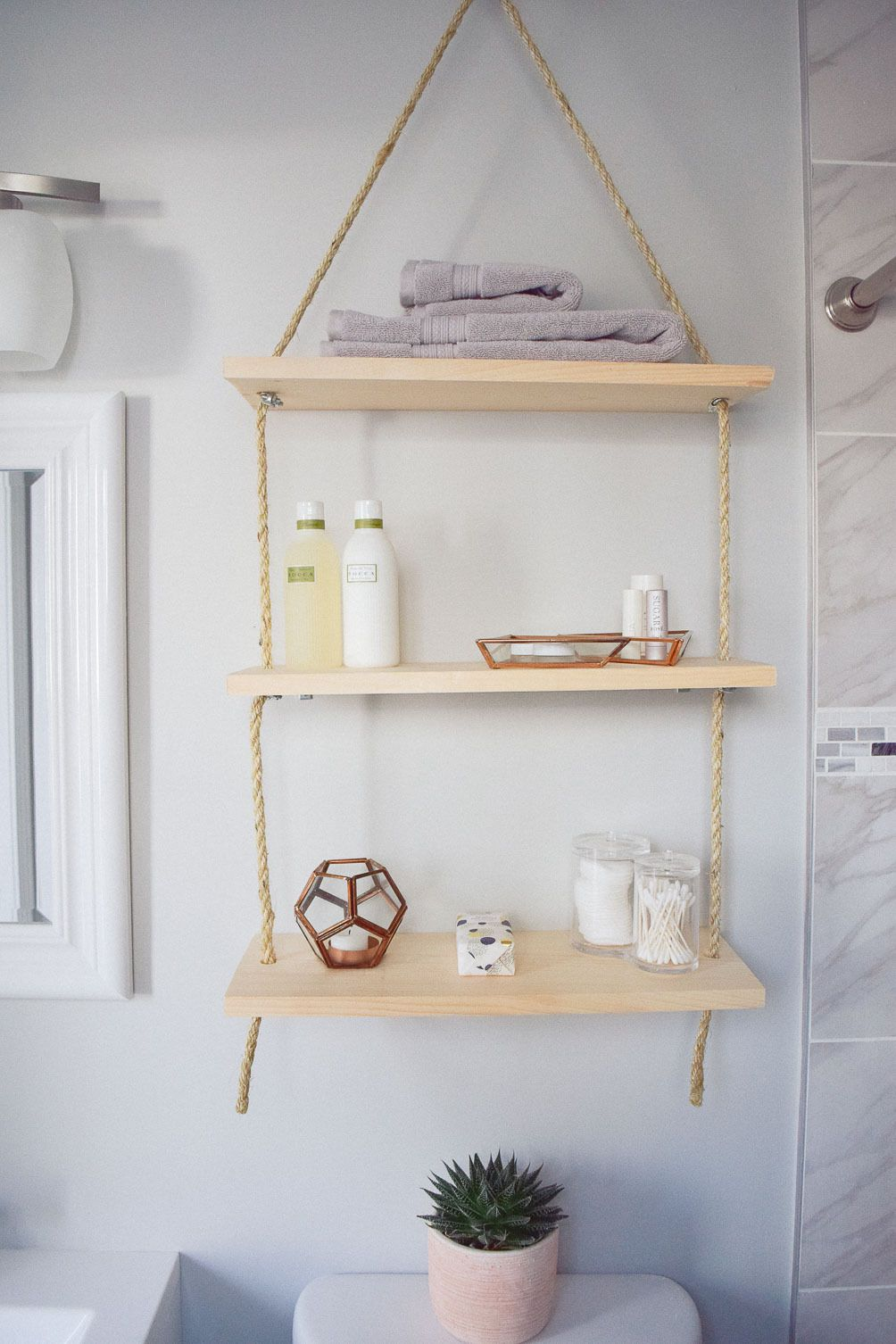 sharing an idea to update home decor with diy hanging shelves for ...