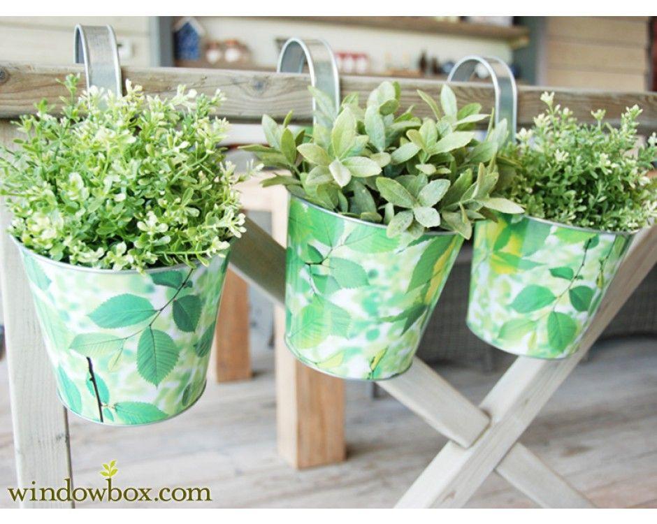 Elm Print Balcony Planter W/ Hook   Metal U0026 Iron Planters   Pots U0026 Planters