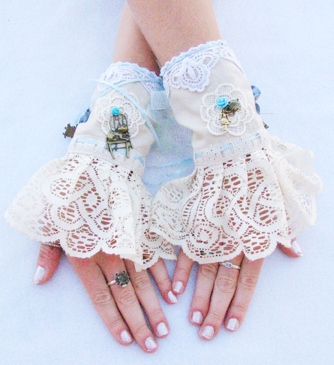 Wedding Lace Bridal Gloves Cuffs Alice In Wonderland Wedding ...