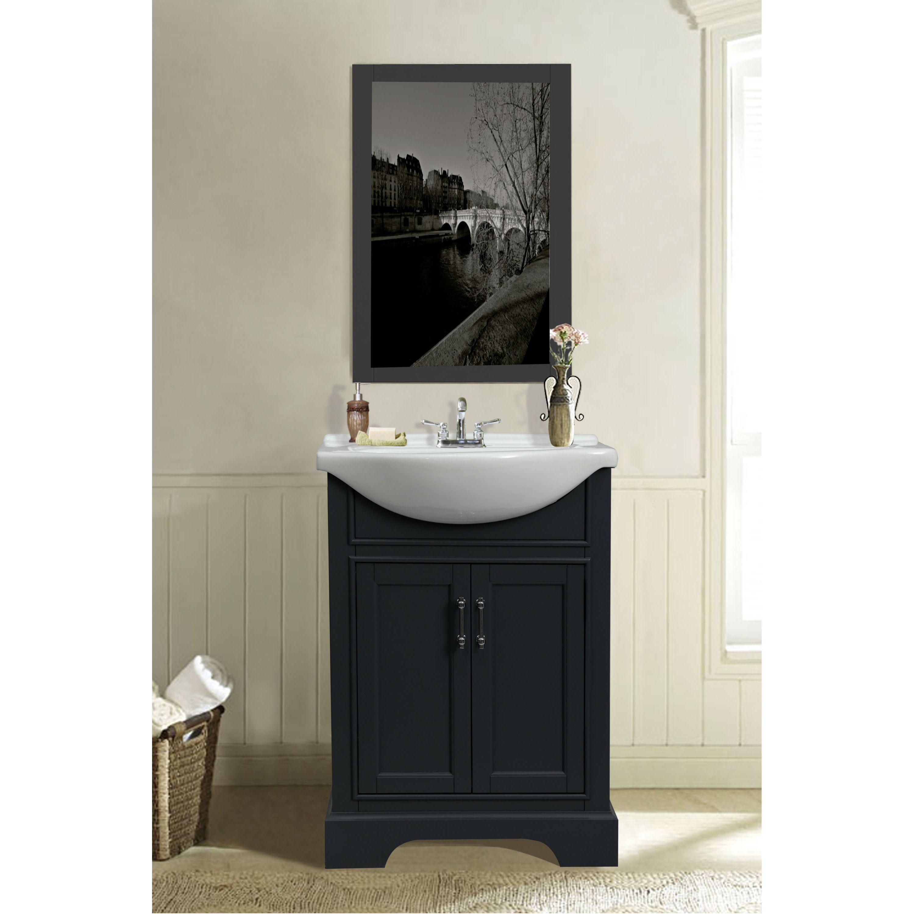 24 In Bathroom Vanity In Dark Gray With Ceramic Top Vanity Sink
