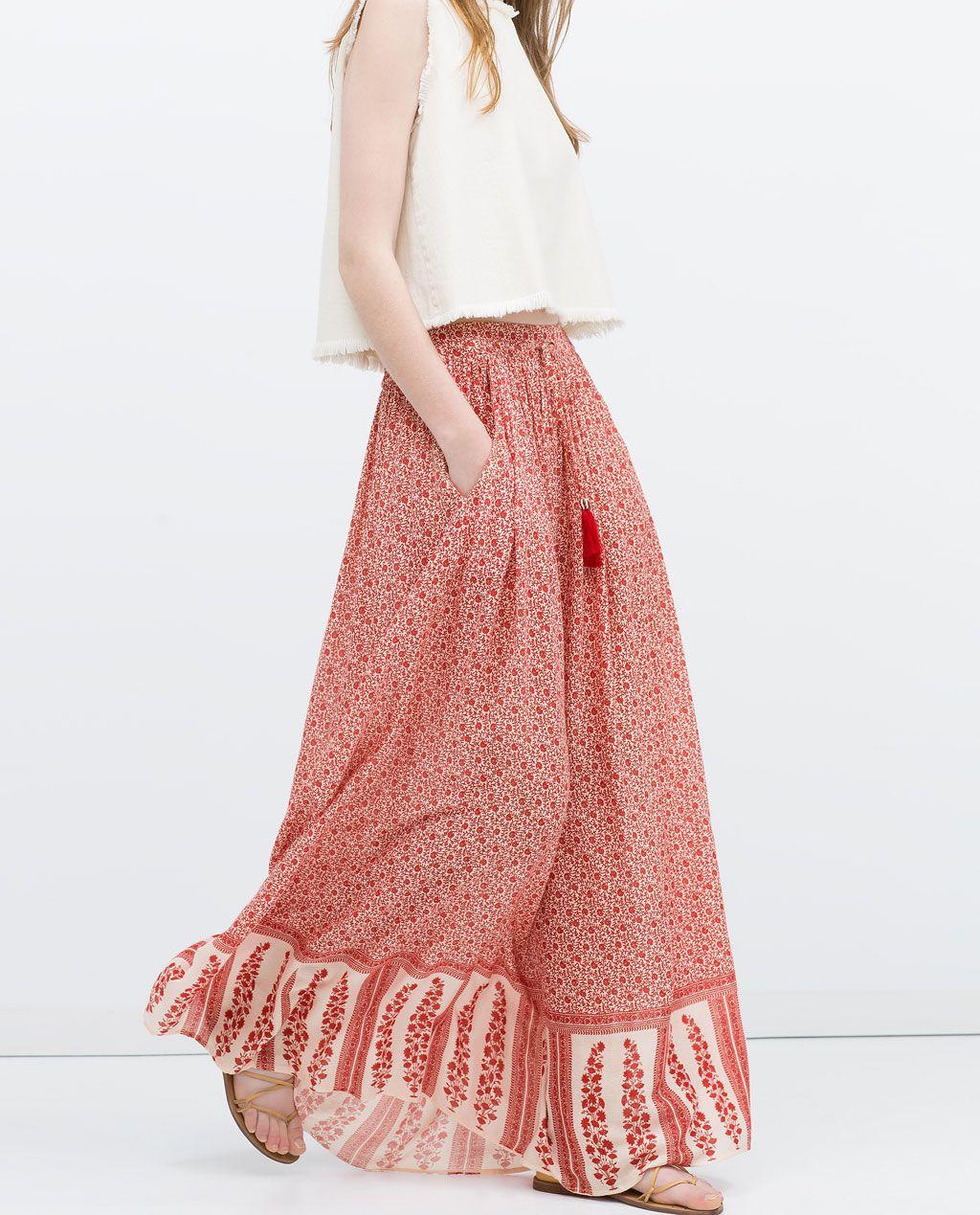 Image of long printed skirt from zara wishlist pinterest