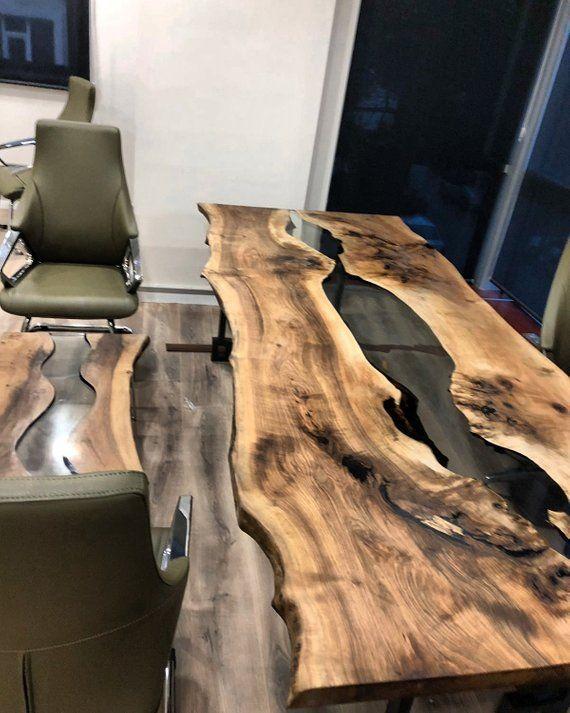 Holz Epoxy Tisch Holztisch Epoxidharz Walnuss Tabelle