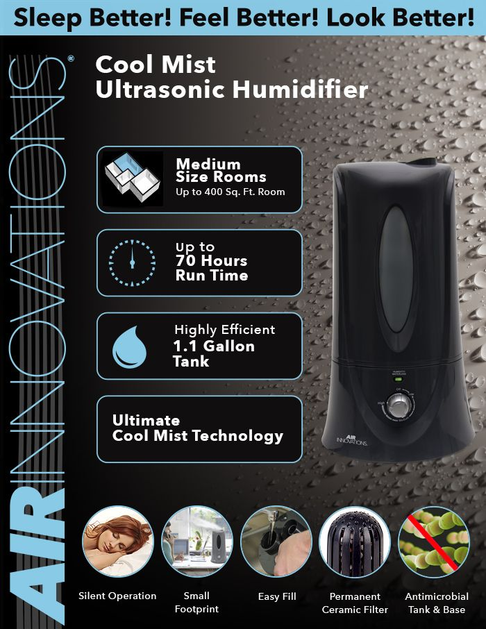 Air Innovations 1 1 Gal Cool Mist Humidifier For Medium Rooms Up To 400 Sq Ft Humid12 Blk The Home Depot Cool Mist Humidifier Humidifier Cool Stuff