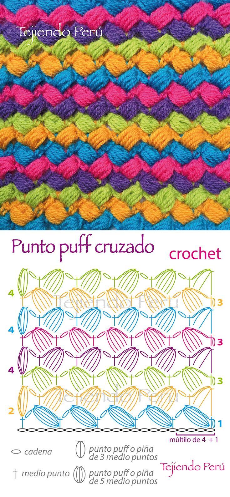 Crochet: punto puff cruzado (patrón o diagrama!) | crochet ...