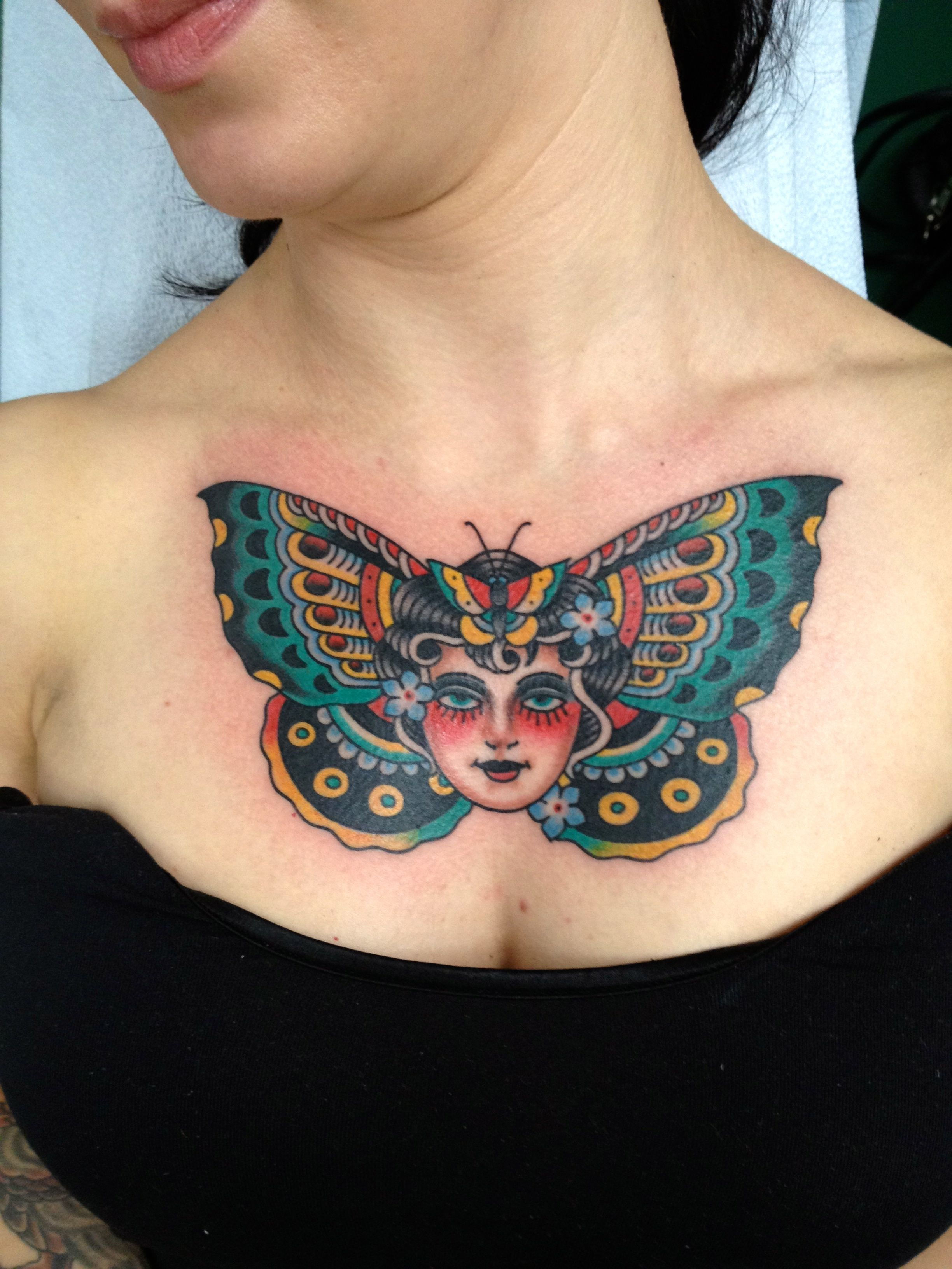 Butterfly Tattoos 17 Chest Tattoos For Women Traditional Chest Tattoo Chest Tattoo