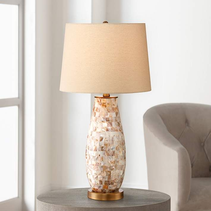 Kylie mother of pearl tile vase table lamp 2h116 lamps plus
