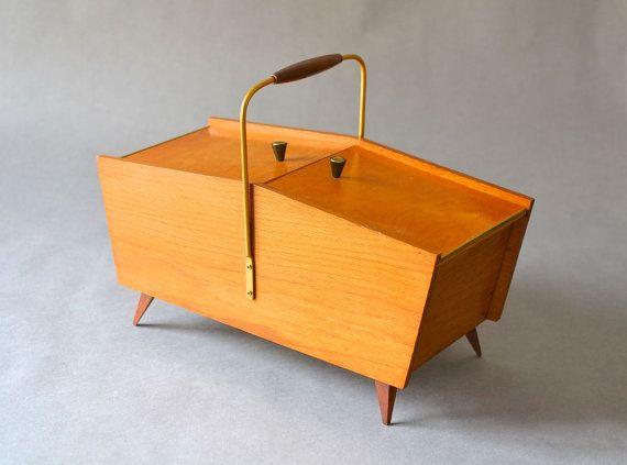 Vintage sewing basket sewing box knitting basket box jewelry box