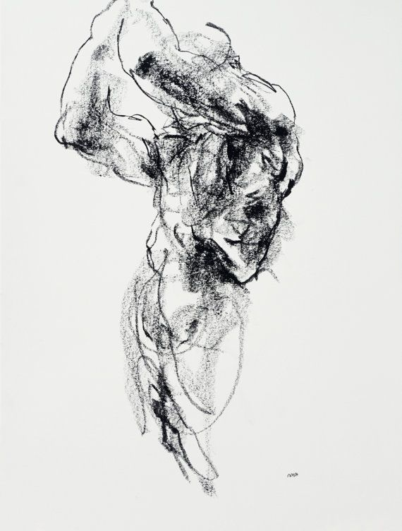 Original Abstract Male Nude Drawing By Derekoverfieldart