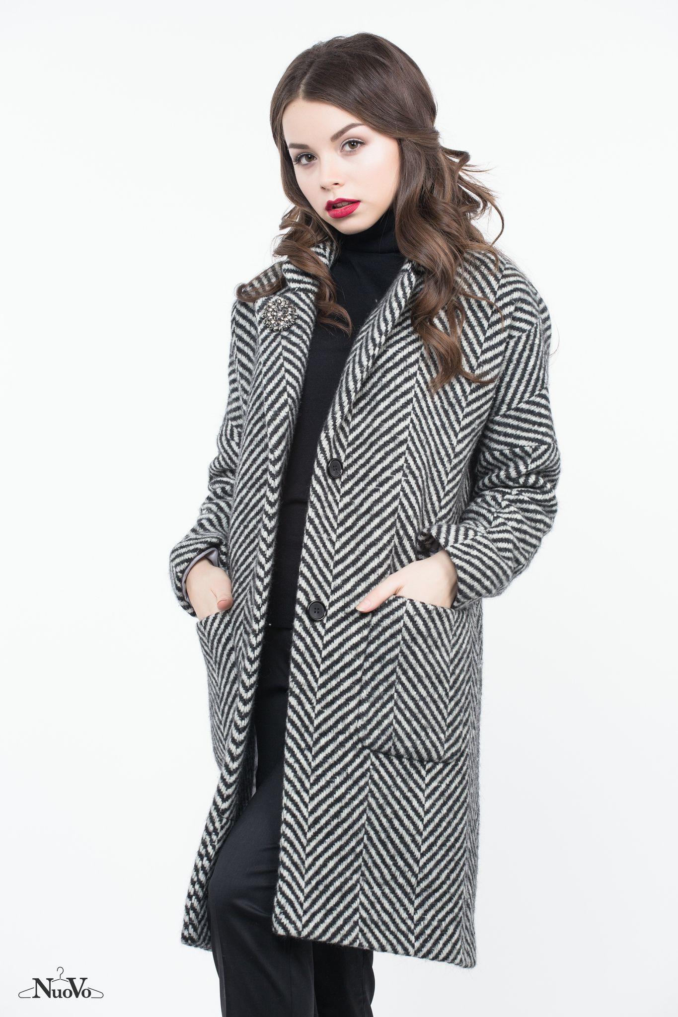 61c7a7785da31 пальто черно-белое елочка зимнее NuoVo купить в магазине украинских  дизайнеров Shopping Mall
